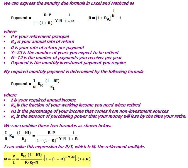 Figure 2: Derivation of Retirement Planning Formula.
