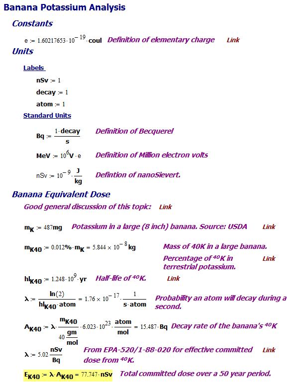 Figure 2: Calculation for Banana Equivalent Dose.
