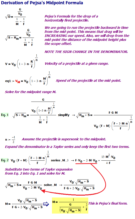 Figure 2: Derivation of Formula for the Trajectory Midpoint.