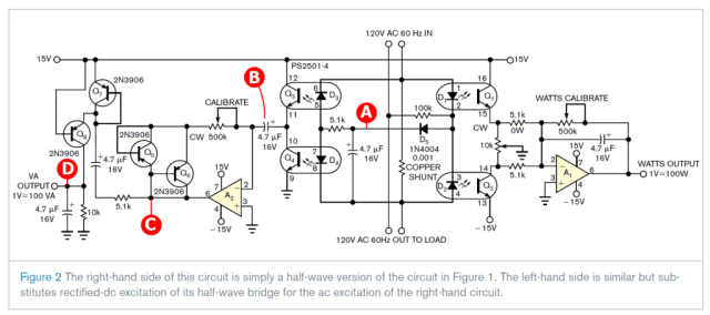 Figure 4: Circuit Diagram with Analysis Points Marked.