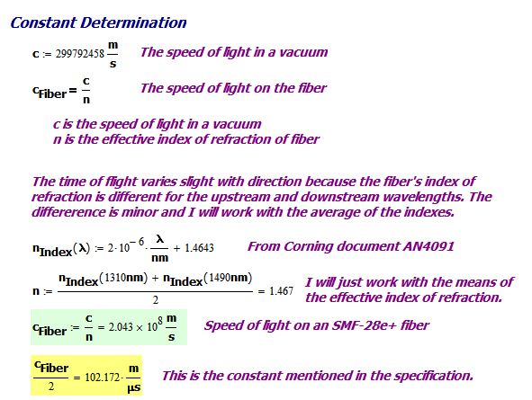 Figure 4: Calculate the Speed of Light on the Fiber.