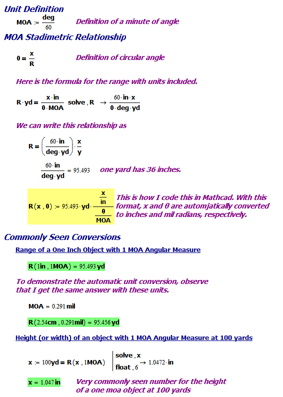 Figure 5: Derivation of Minute of Angle Relationships.