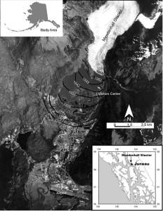 Figure 2: Mendenhall Glacier's Retreat versus Time.