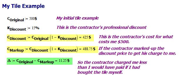 Figure 2: Tile Installer Math Error.