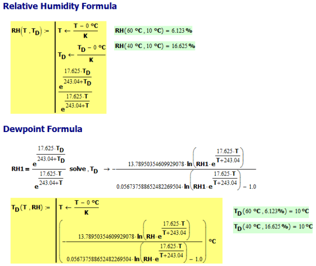 Figure M: Dewpoint and Relative Humidity Conversion Formula (Source).