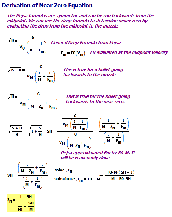 Figure M: Derivation of Near Zero Formula.