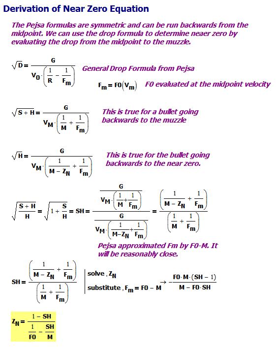 Figure M: Derivation of Near Zero Formula.