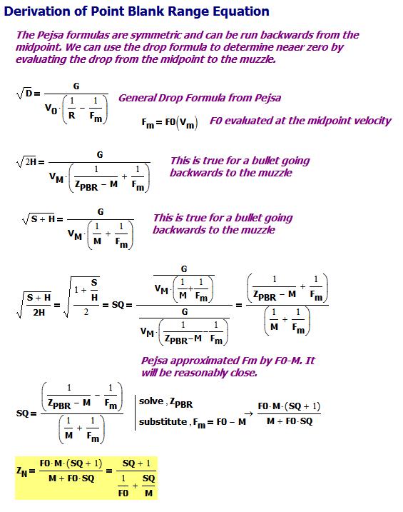 Figure M: Derivation of Point-Blank Range Formula.