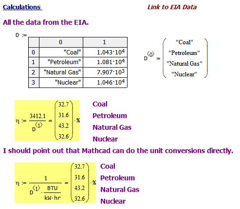 Figure 4: Efficiency Calculations.