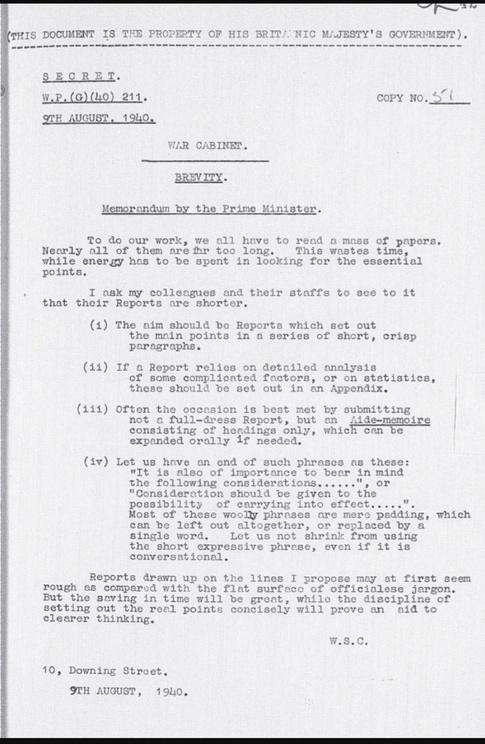 Figure 2: Churchill's Call For Brevity.