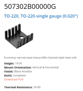 Figure 1: Common TO-220 Heat Sink.
