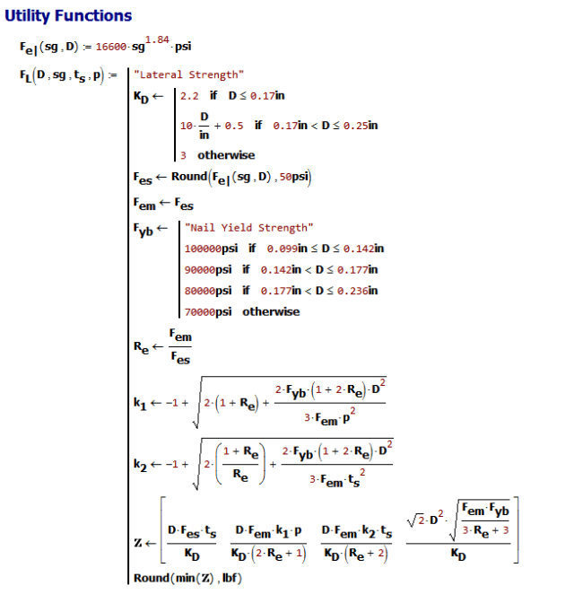 Figure M: My Realization of the NDS Dowel Lateral Strength Function.