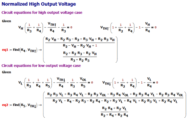 Figure M: Apply Kirchoff's Voltage Law to High and Low Output Voltage Cases.