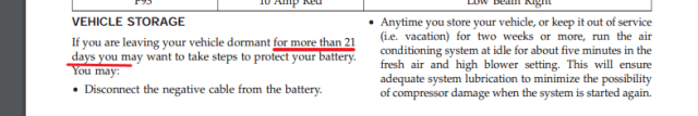 Figure 6: Chrysler 200 Manual Calling Out Battery Discharge.