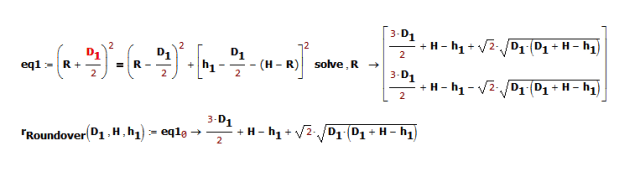 Figure 3: Derivation of Bullnose Radius Formula.