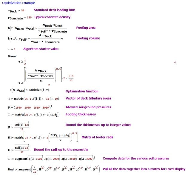 Figure M: Mathcad Version of Optimization Algorithm.