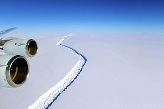 Figure 3: Huge Iceberg Beginning to Calve From Larson C Ice Sheet. (Source)