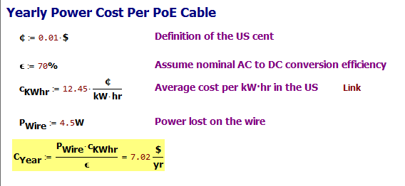 Figure M: Annual Electrical Cost for a Running a PoE Line in the US.