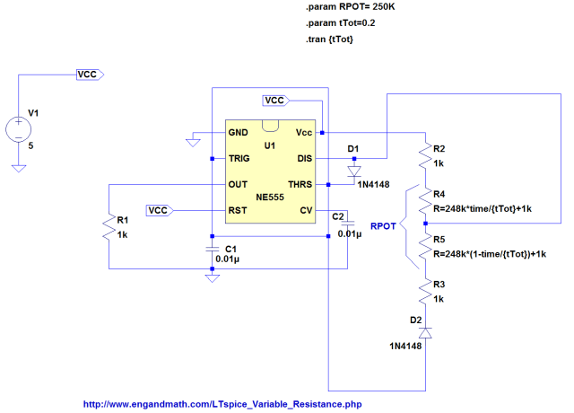 Figure 2: LTspice Implementation of the 555 PWM Circuit.