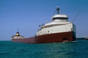 Figure 1: Great Lakes Freighter Edmund Fitzgerald, which sank 10-Nov-1975. (Source)