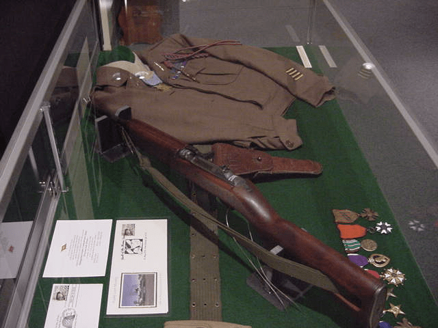 Figure 4: Museum Display of Audie Murphy's Rifle, Gear, and Medals from WW2.
