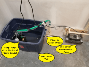 Figure 1: My Short-Term Solution to Stop Condensate from Freezing in My Septic System.