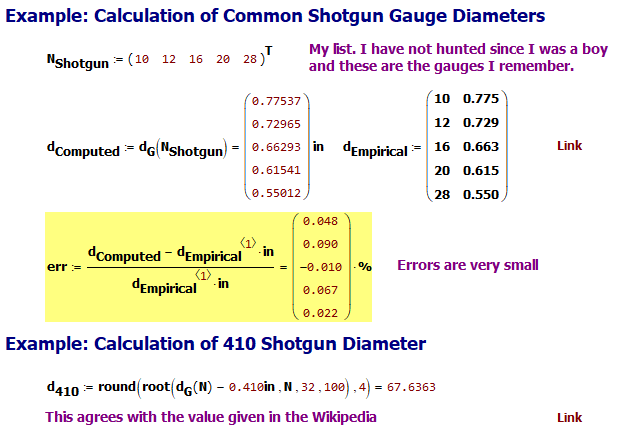 Figure 3: Simple Calculation Examples Using Equation 1.