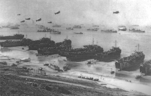 Figure 1: LSTs on Omaha Beach Shortly After D-Day.