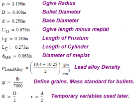 Figure 11: Variable Definitions for 155 grain Sierra Bullet Example.