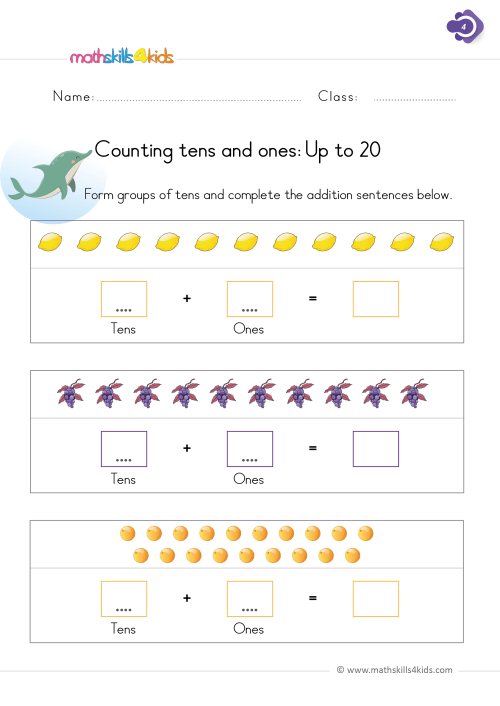 small resolution of Numbers and counting worksheets for Grade 1   Math Skills for Kids