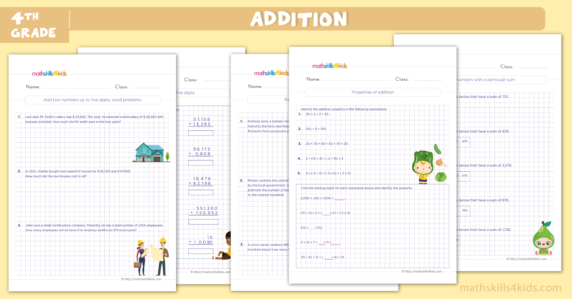 hight resolution of Addition Worksheets for Grade 4 PDF - Addition Sums for Class 4 with Answers