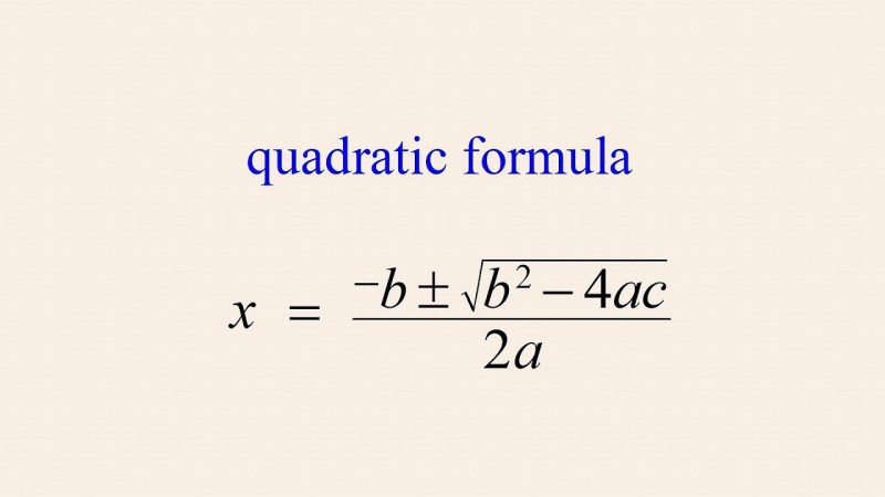 The Quadratic Formula - MathsLinks