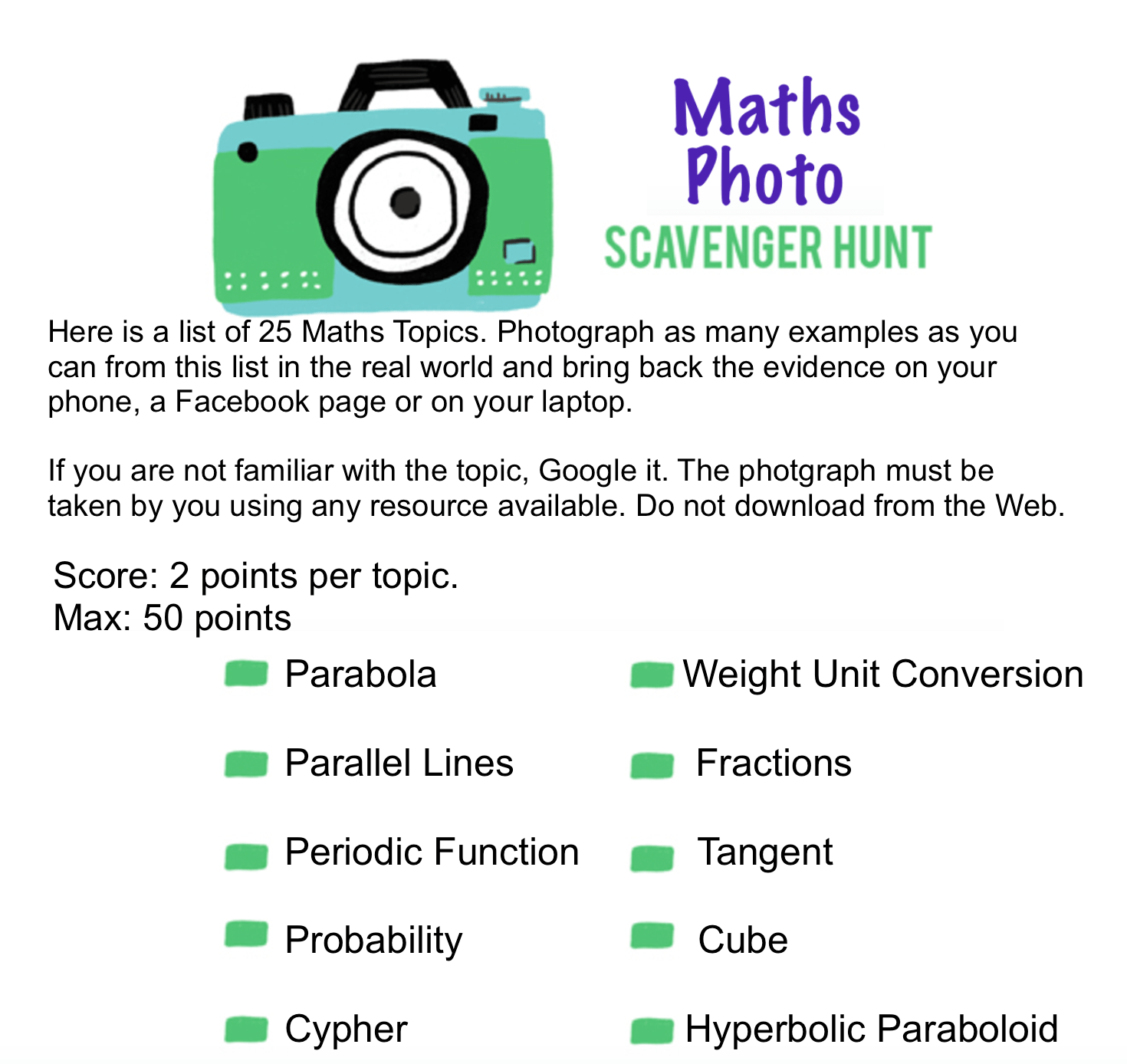 7b Middle School Maths Photo Scavenger Hunt