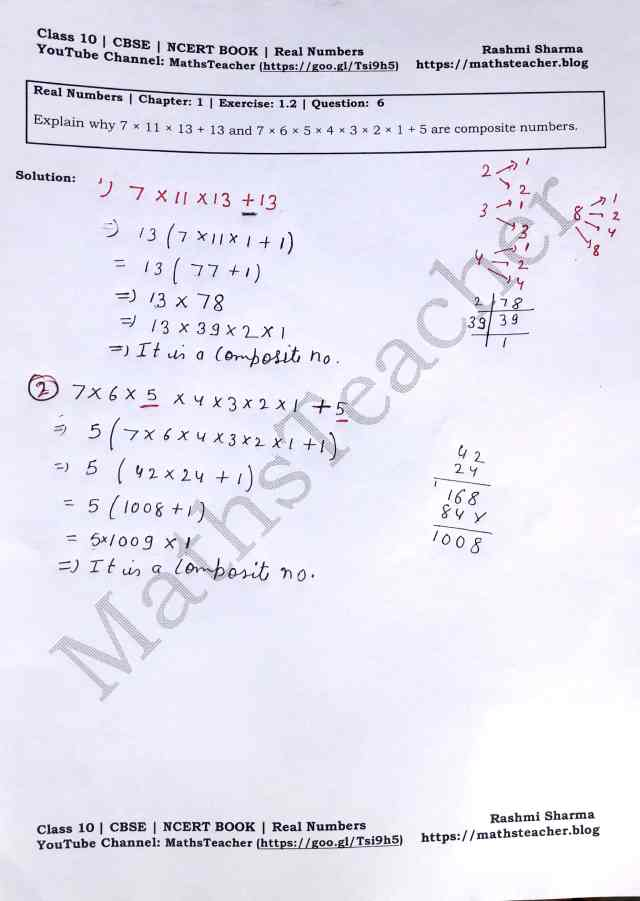 Class 10 Maths Real Numbers Exercise 1.2 Question 6