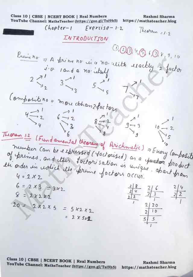 Class 10 Maths Real Numbers Exercise 1.2 Introduction or Theorem 1.2