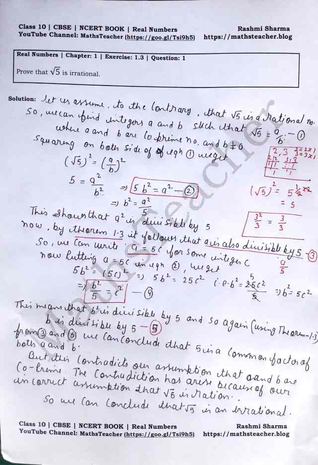 Class 10 Maths Real Numbers Exercise  1.3 Question 1