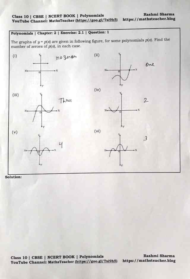 Class 10 Maths Polynomials Exercise 2.1 Q 1