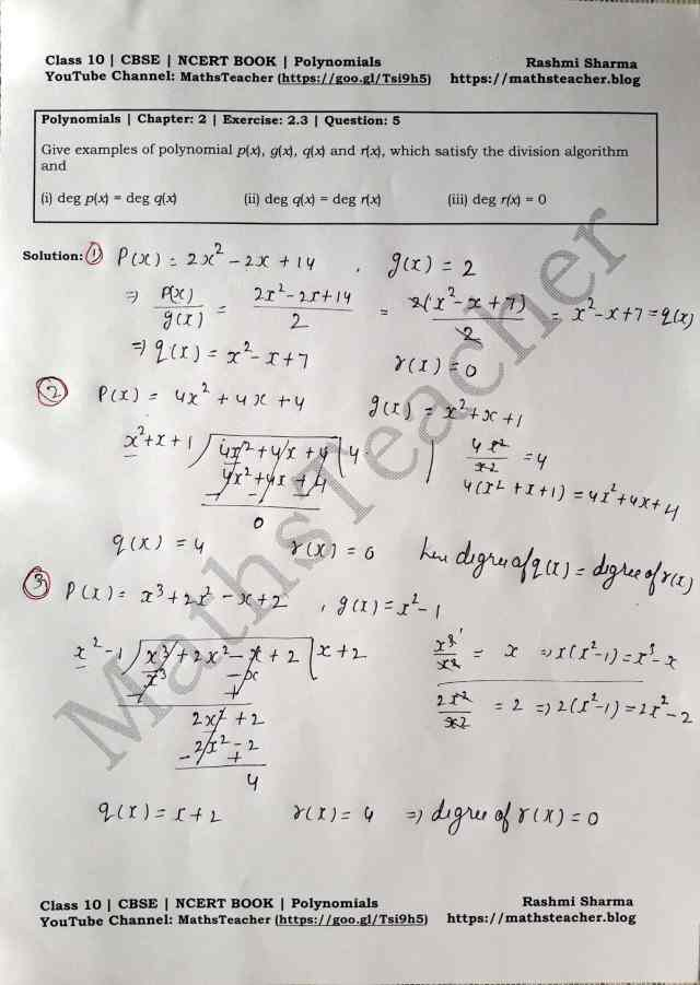 Class 10 Maths Chapter 2 Polynomials Ex 2.3 Question 5 (i, ii and iii)