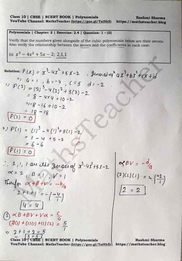 Class 10 Maths Chapter 2 Polynomials Ex 2.4 Question 1(ii)