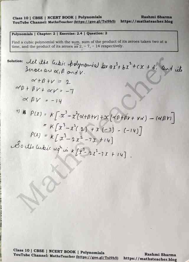 Class 10 Maths Chapter 2 Polynomials Ex 2.4 Question 2