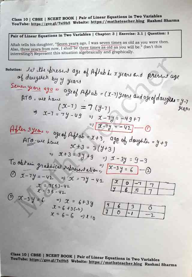 Class 10 Maths Chapter 3 Pair of Linear Equations in 2 variables Ex 3.1 Question 1
