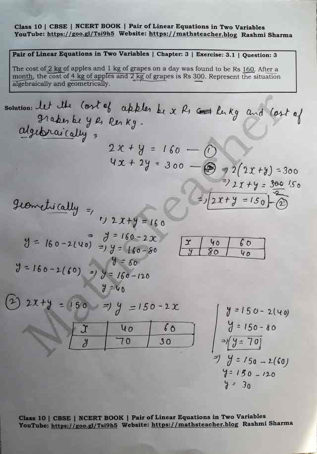 Class 10 Maths Chapter 3 Pair of Linear Equations in 2 variables Ex 3.1 Question 3