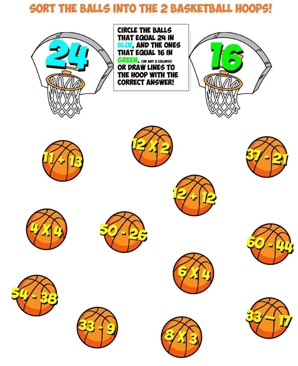 medium resolution of Fraction Basketball Worksheet   Printable Worksheets and Activities for  Teachers