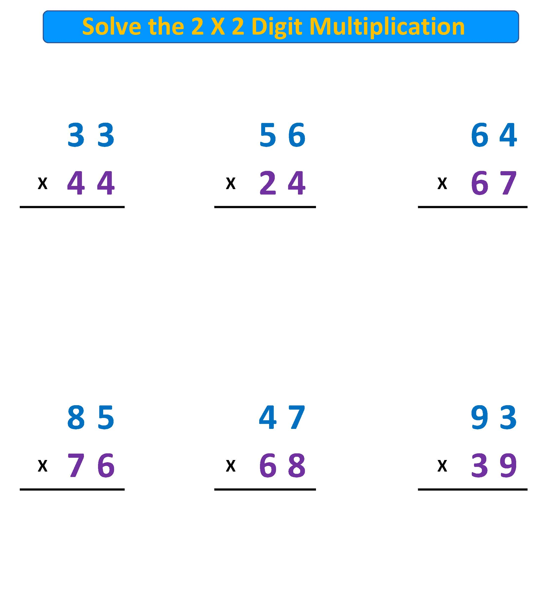 Multiplication Problems 2 X 2 Digit With Regrouping
