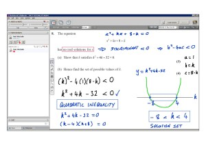 An example of online maths tuition for C1 Core Maths. The topic is quadratic inequalities.