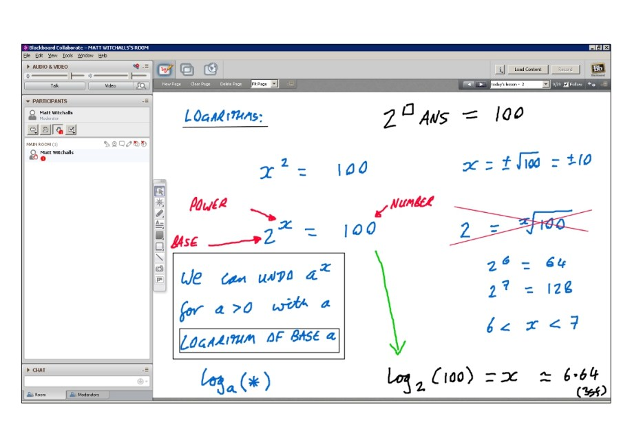 An example of online maths tuition for C2 Core Maths. The topic is logarithms.