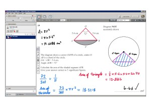 An example of online maths tuition for GCSE or IGCSE level. The topic is sectors and segments.