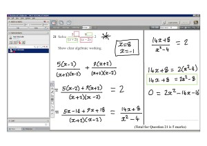 An example of online maths tuition for GCSE or IGCSE level. The topic is algebraic fractions.