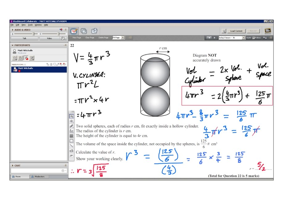 An example of online maths tuition for GCSE or IGCSE level. The topic is volumes.