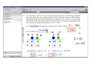 An example of online maths tuition for M1 Mechanics. The topic is momentum and the problem involves two particles colliding.